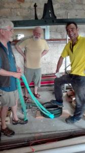 Démontage métier à broder - Contrepoids déposé